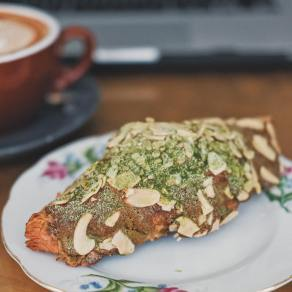... and then there's an almond croissant dusted with matcha, which pretty much looks exactly like the mountain, only laid on its side.